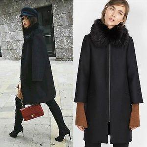 Zara Fur Collar Wool Coat
